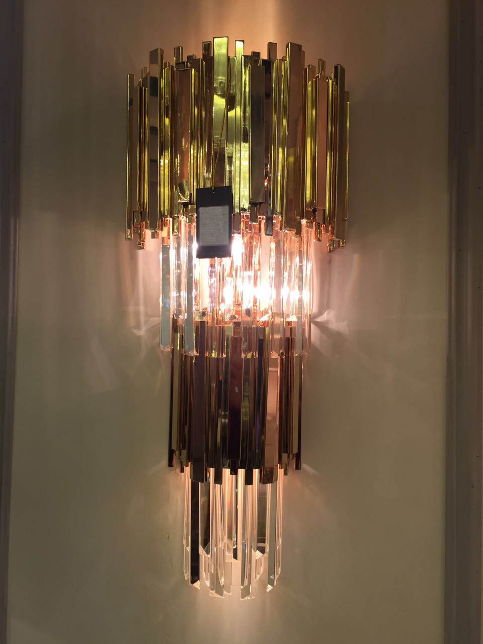 brass crystal  wall lamp